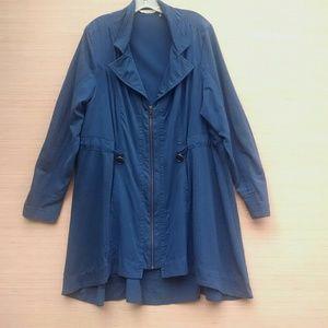 Soft Surroundings blue Tencel flare jacket 1X